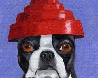 Boston Terrier Wearing 101 Hats Series dog art PRINT Number 13