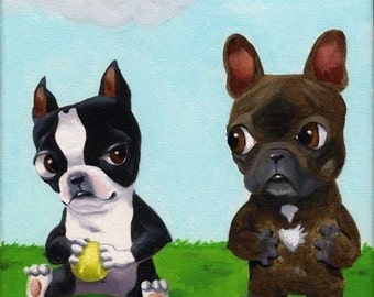 Boston Terrier Hogging All the Toys From a French Bulldog -  dog art print