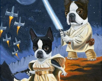 Luke and Leia Terrier - Boston Terrier dog art print