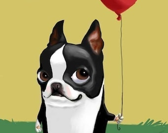 Boston Terrier with a Red Balloon