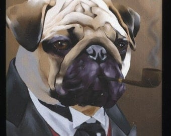 Pug Gentleman dog art magnet