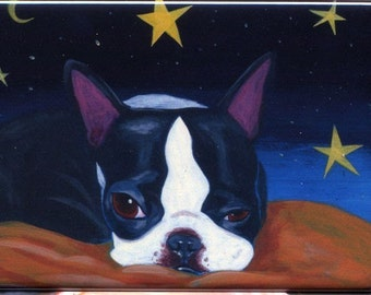 Boston terrier slumber land dog art magnet
