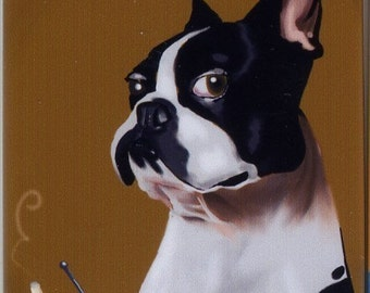 Boston Terrier at the Bar Having a Drink magnet