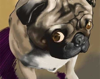 Cute Pug Dog Art Print