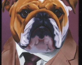 English Bulldog Dressed cute dog art magnet