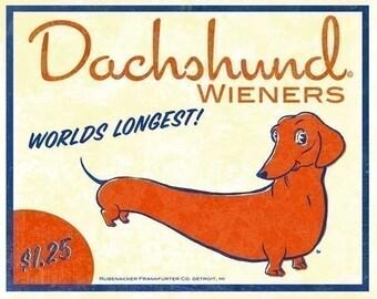 Dachshund Vintage Hot Dog Label Art