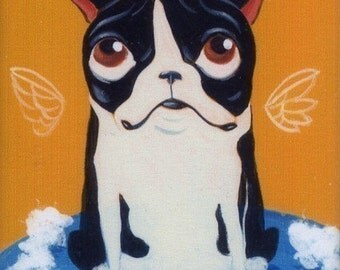 Boston Terrier gift - Boston Terrier art - de-stuffing a toy magnet