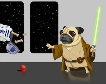Pug Jedi dog art print