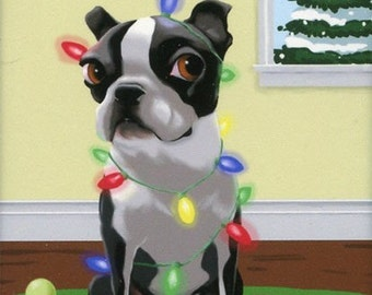 Boston Terrier Christmas Dog Art Magnet