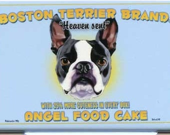 Boston Terrier Angel Food Dog Art Magnet