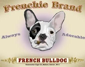 French bulldog cigar label dog art print