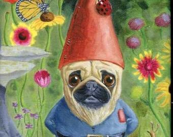 Pug Gnome cute dog art magnet