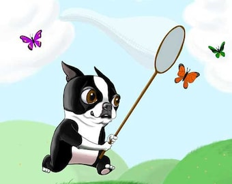 Boston terrier art print bt chasing butterflies