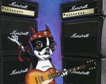 Boston Terrier Playing Les Paul Guitar - Dog Art Magnet