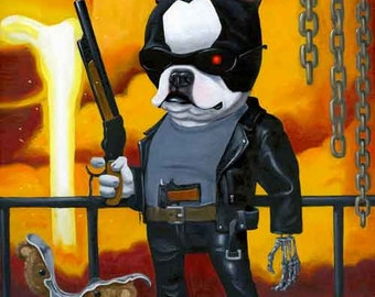 Boston Terrier Terminator art print