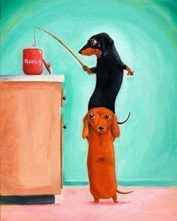 Dachshund dog art the bone thieves