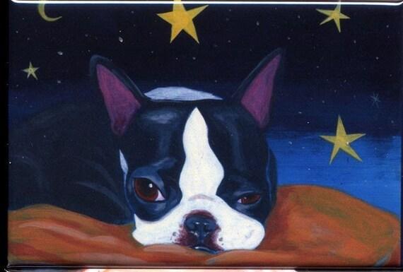 Boston terrier slumber land dog art magnet
