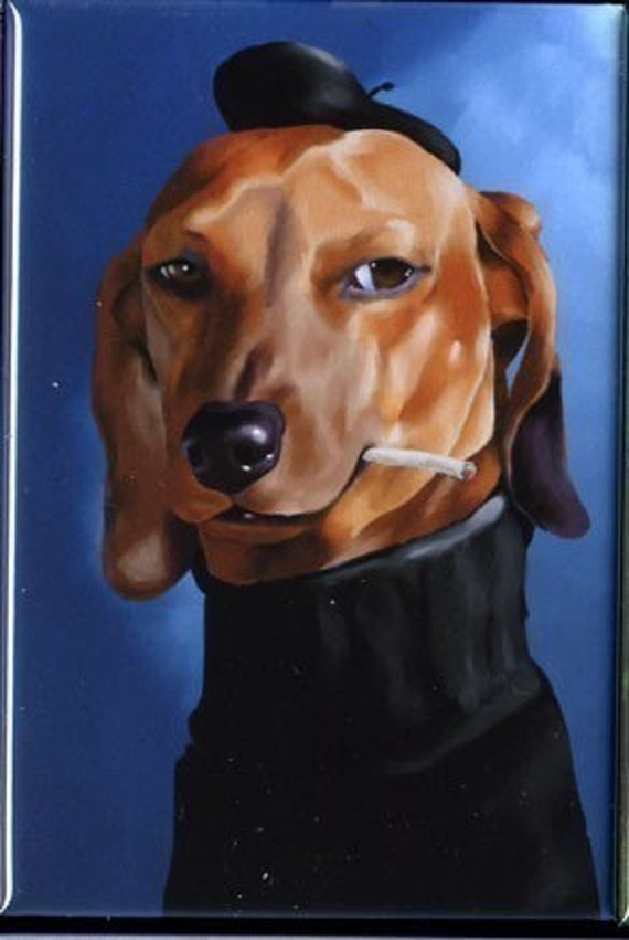 Cool cat Dachshund dog art magnet