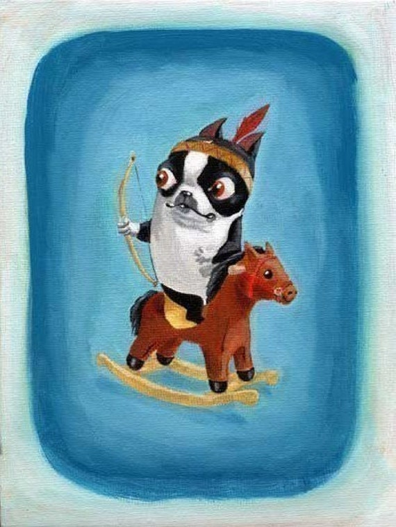 Boston Terrier Playing Cowboys and Indians