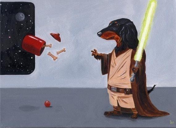 Dachshund Jedi 11 x 14 Dog Art Print