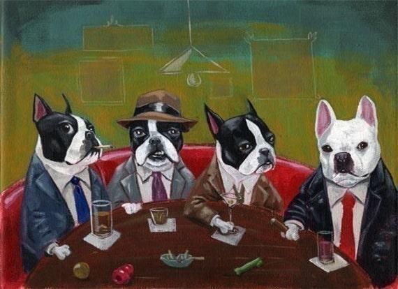 11 x 14  Print - Three Boston Terriers and a French Bulldog