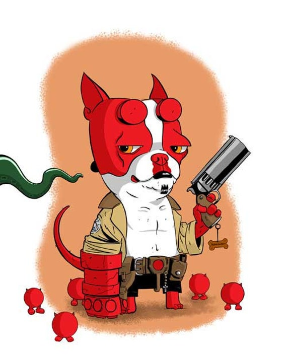 Boston Terrier dog art print Hellboy 11 x 14