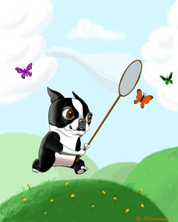 Boston terrier art print bt chasing butterflies