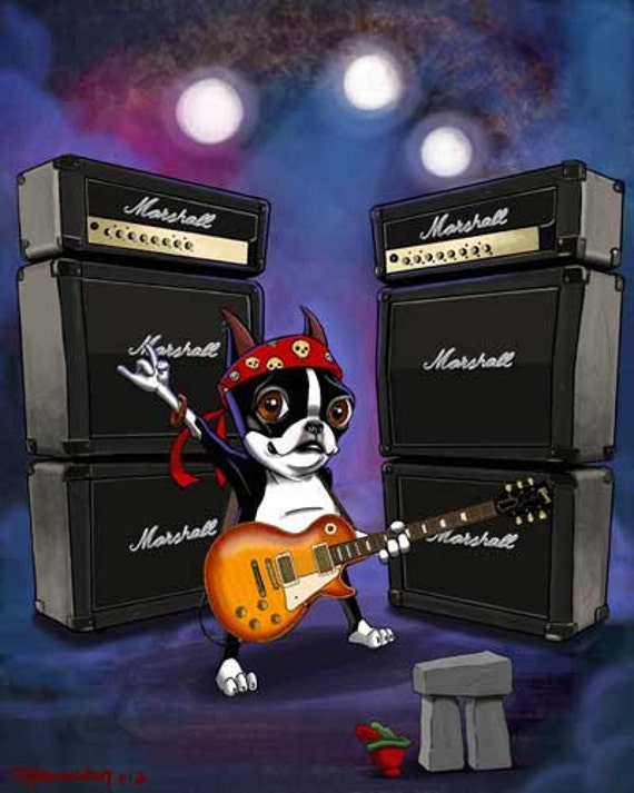 Boston terrier Rock Star guitar playing LIMITED EDITION art print