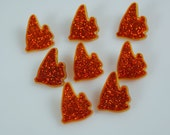 Clear Orange Colored Fish Buttons with Shank and Glitter