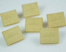 Cookie Biscuit Shortbread Rectangle Novelty Buttons