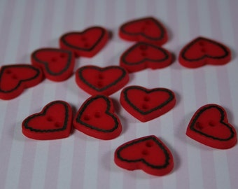 Country Red Heart Buttons