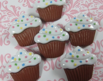 Large Chocolate Cupcakes with Sprinkles Novelty Buttons
