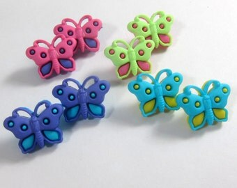 Assorted Spring Colors Butterfly  Novelty Buttons