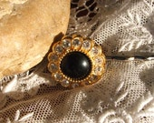 Rhinestone Button Hairpin Handmade with French Vintage Buttons