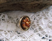 Button Ring Adjustable,Handmade with vintage Buttons