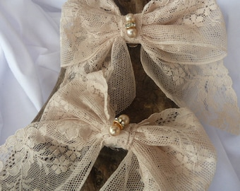 Bridal Shoe Clips - Vintage Lace Bow with Pearl Beads & Diamante Rondelles - Handmade