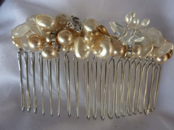 Wedding Hair  Comb  Vintage Glass Buttons, Pearls & Beads-  Handmade in France