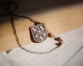 Secret order of the Raven - vintage antiqued brass mysterious heraldic shield necklace