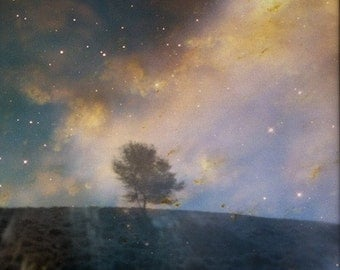 HALF PRICE SALE - Twilight. Original 5x7 fine art photographic print of a tree silhouette over starry sky