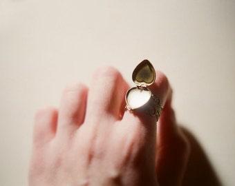 Adjustable filigree ring with vintage heart shaped locket - Valentine's Day, love