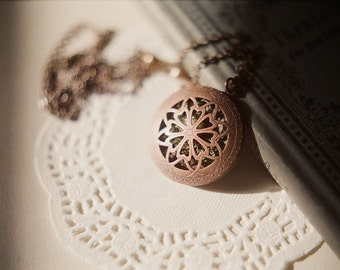 Bird nest  - antiqued copper filigree locket long necklace