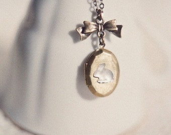 Follow the white rabbit - sweet vintage bunny locket and bow necklace in antique brass. Spring, Easter jewelry