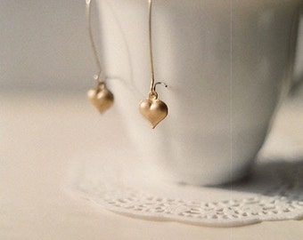 Vintage brass heart earrings