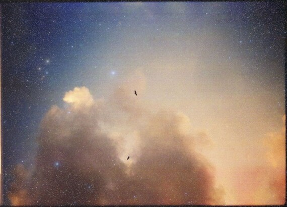 HALF PRICE SALE - Vernal Equinox - Original 5x7 fine art photograph of a dreamy starry peach blue sky with birds and clouds