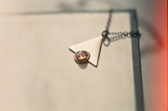 Macrocosm,  vintage brass triangle necklace