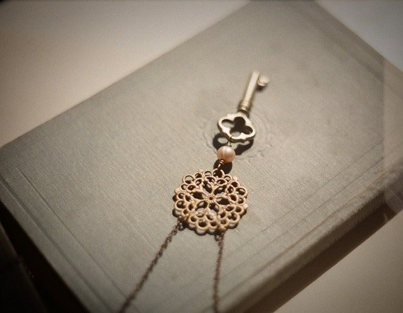 Key to the castle, antique brass skeleton key and filigree necklace