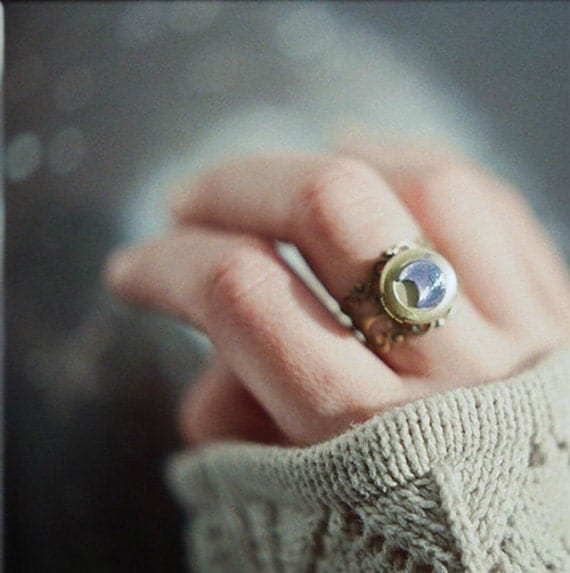 SALE Statement crescent moon locket ring - iridescent blue glass and antique brass - the Moonlight Traveller