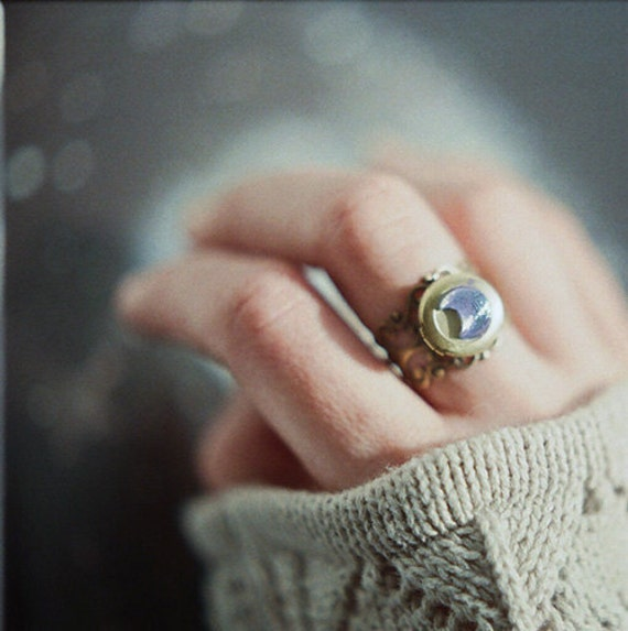 Statement crescent moon locket ring - iridescent blue glass and antique brass - the Moonlight Traveller