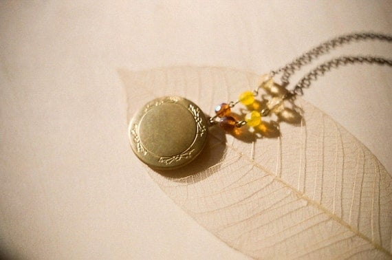Golden brass locket necklace with etched leaves and vintage glass beads in shades of yellow - Autumn Forest