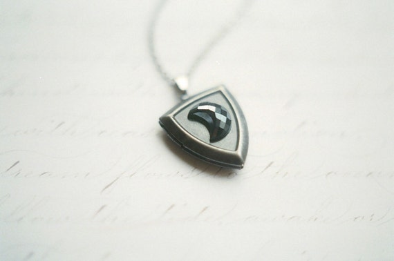 Antique silver shield locket necklace with vintage crescent moon cabochon